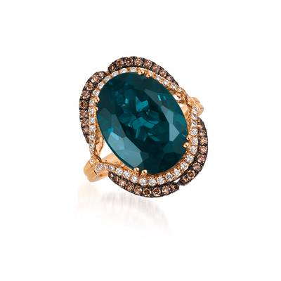 14K Strawberry Gold® Deep Sea Blue Topaz™ 10 1/2 cts. Ring with Chocolate Diamonds® 1/3 cts., Vanilla Diamonds® 3/8 cts. | TQWV 17