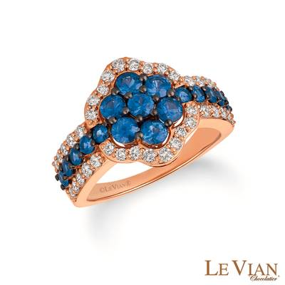 14K Strawberry Gold® Blueberry Sapphire™ 1  3/8 cts. Ring with Nude Diamonds 5/8 cts. | TQZC 72