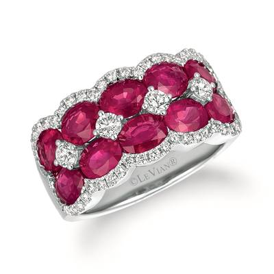 14K Vanilla Gold® Passion Ruby™ 4  1/5 cts. Ring with Vanilla Diamonds® 5/8 cts. | TRAF 70