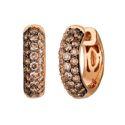 14K Strawberry Gold® Earrings with Chocolate Ombré Diamonds® 1 cts. | TRAG 15