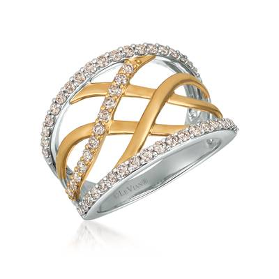 14K Two Tone Gold Ring with Nude Diamonds™ 7/8 cts. | TRCE 51