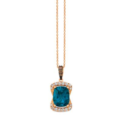 14K Strawberry Gold® Deep Sea Blue Topaz™ 3 cts. Pendant with Chocolate Diamonds® 1/20 cts., Nude Diamonds™ 1/4 cts. | TRDJ 74
