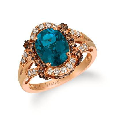 14K Strawberry Gold® Deep Sea Blue Topaz™ 3 cts. Ring with Chocolate Diamonds® 3/8 cts., Nude Diamonds™ 1/3 cts. | TRDJ 82