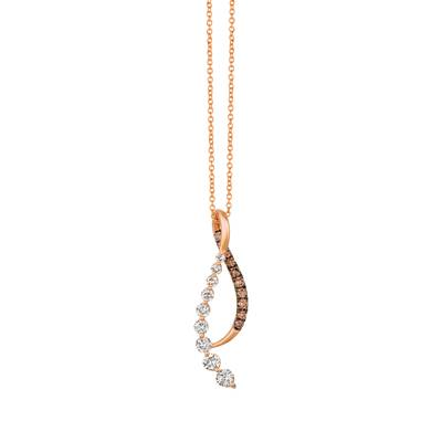 14K Strawberry Gold® Pendant with Nude Diamonds™ 5/8 cts., Chocolate Diamonds® 1/4 cts. | TRDK 38
