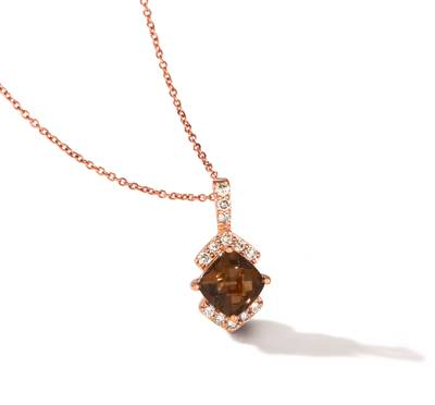 14K Strawberry Gold® Chocolate Quartz® 1  1/3 cts. Pendant with Nude Diamonds 1/4 cts. | TREE 11