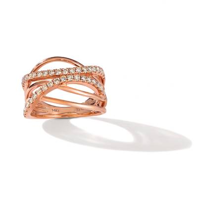14K Strawberry Gold® Ring with Nude Diamonds™ 3/4 cts. | TREL 9