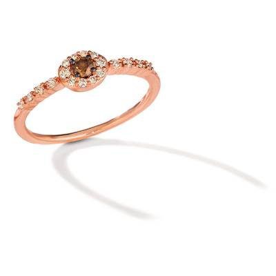 14K Strawberry Gold® Ring with Chocolate Diamonds® 1/10 cts., Nude Diamonds™ 1/6 cts. | TREN 70