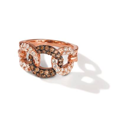 14K Strawberry Gold® Ring with Chocolate Diamonds® 1/2 cts., Nude Diamonds 5/8 cts. | TREO 52