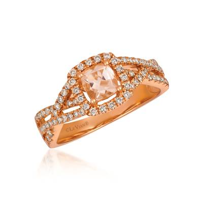 14K Strawberry Gold® Peach Morganite™ 3/8 cts. Ring with Nude Diamonds™ 3/8 cts. | TREO 68