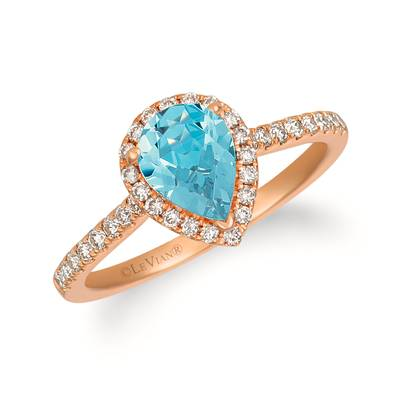 14K Strawberry Gold® Sea Blue Aquamarine® 3/4 cts. Ring with Nude Diamonds™ 1/3 cts. | TREO 69AQRG