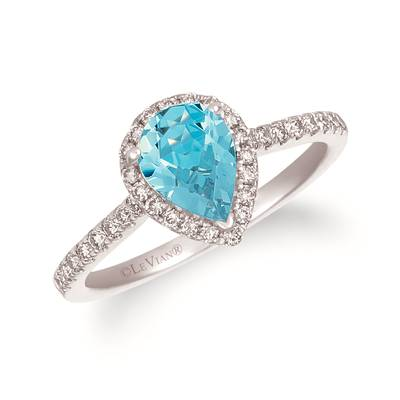 14K Vanilla Gold® Sea Blue Aquamarine® 3/4 cts. Ring with Nude Diamonds™ 1/3 cts. | TREO 69AQWG