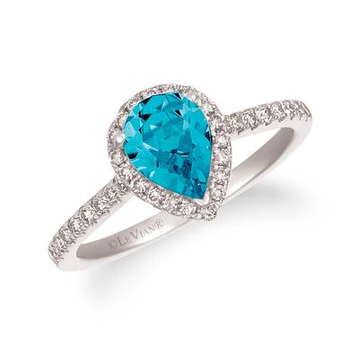 14K Vanilla Gold® Blue Topaz 1 cts. Ring with Nude Diamonds™ 1/3 cts. | TREO 69BTWG