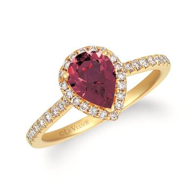 14K Honey Gold™ Raspberry Rhodolite® 1  1/4 cts. Ring with Nude Diamonds™ 1/3 cts. | TREO 69RHYG