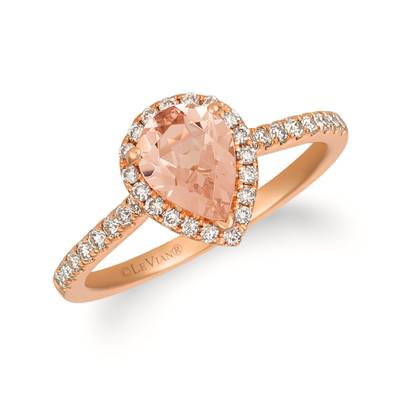 14K Strawberry Gold® Peach Morganite™ 3/4 cts. Ring with Nude Diamonds™ 1/3 cts. | TREO 69S5