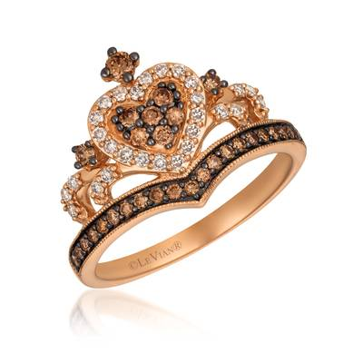 14K Strawberry Gold® Ring with Chocolate Diamonds® 1/3 cts., Nude Diamonds™ 1/5 cts. | TREO 81