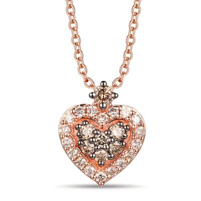 14K Strawberry Gold® Pendant with Chocolate Diamonds® 1/6 cts., Nude Diamonds 1/8 cts. | TREO 90