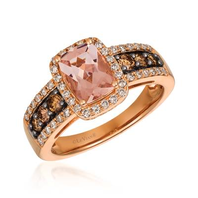 14K Strawberry Gold® Peach Morganite™ 1 cts. Ring with Chocolate Diamonds® 1/3 cts., Nude Diamonds™ 1/3 cts. | TRFS 12