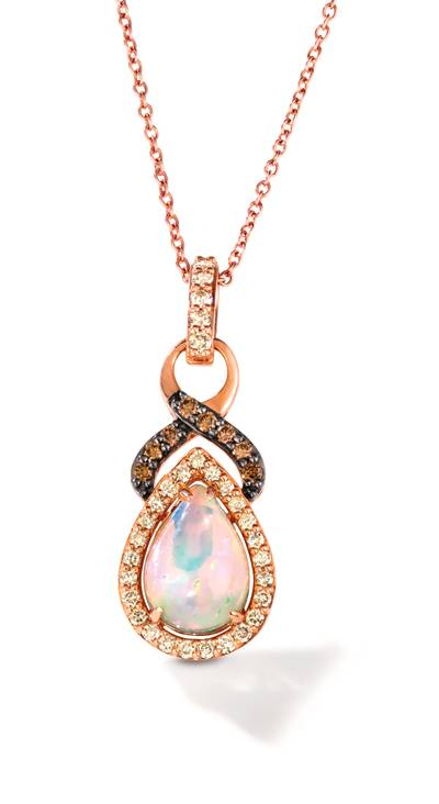 14K Strawberry Gold® Neopolitan Opal™ 7/8 cts. Pendant with Nude Diamonds™ 1/4 cts., Chocolate Diamonds® 1/10 cts. | TRFS 2