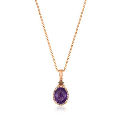 14K Strawberry Gold® Grape Amethyst™ 1  1/2 cts. Pendant with Chocolate Diamonds® 1/20 cts., Nude Diamonds 1/8 cts. | TRFS 4