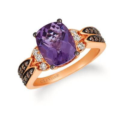 14K Strawberry Gold® Grape Amethyst™ 2  5/8 cts. Ring with Chocolate Diamonds® 1/4 cts., Nude Diamonds™ 1/6 cts. | TRFS 58