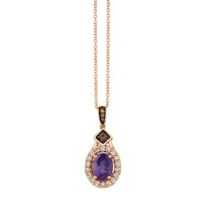 14K Strawberry Gold® Grape Amethyst™ 1  1/8 cts. Pendant with Chocolate Diamonds® 1/20 cts., Nude Diamonds™ 1/3 cts. | TRFS 66