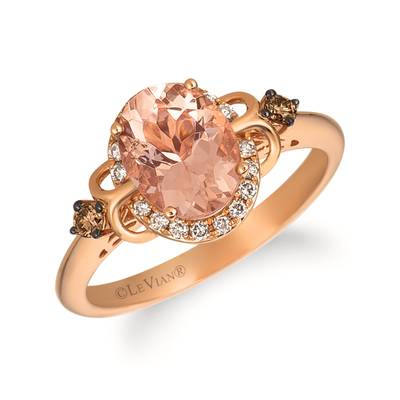 14K Strawberry Gold® Peach Morganite™ 1  1/3 cts. Ring with Chocolate Diamonds® 1/15 cts., Nude Diamonds™ 1/8 cts. | TRFS 7