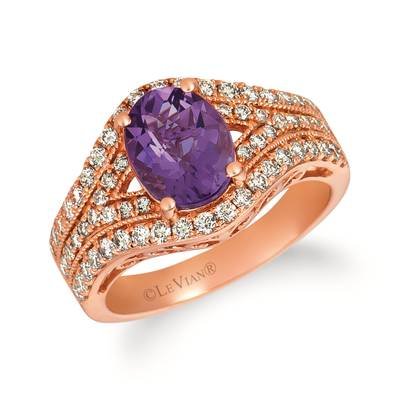 14K Strawberry Gold® Grape Amethyst™ 1  1/2 cts. Ring with Nude Diamonds™ 3/4 cts. | TRFT 112