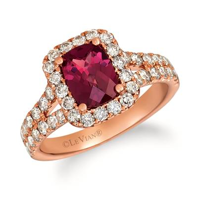 14K Strawberry Gold® Raspberry Rhodolite® 1  1/4 cts. Ring with Nude Diamonds™ 1 cts. | TRFT 156