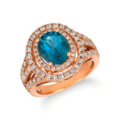 14K Strawberry Gold® Deep Sea Blue Topaz™ 3 cts. Ring with Nude Diamonds 1  1/6 cts. | TRFZ 16