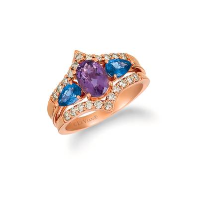 14K Strawberry Gold® Grape Amethyst™ 1  1/8 cts., Blueberry Sapphire™ 1 cts. Ring with Nude Diamonds™ 1/2 cts. | TRHA 17