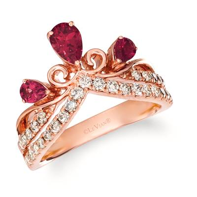 14K Strawberry Gold® Raspberry Rhodolite® 1/2 cts. Ring with Nude Diamonds™ 1/2 cts. | TRHH 43