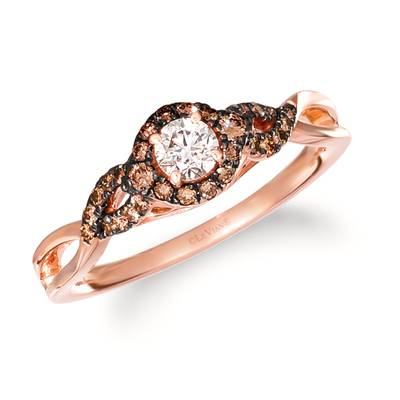 14K Strawberry Gold® Ring with Nude Diamonds™ 1/4 cts., Chocolate Diamonds® 1/4 cts. | TRID 34