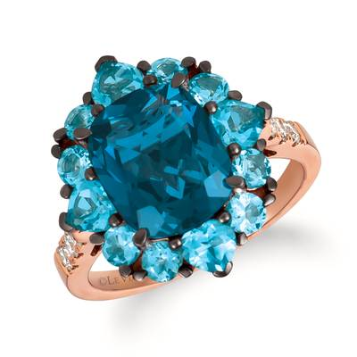 14K Strawberry Gold® Deep Sea Blue Topaz™ 4  3/4 cts., Blue Topaz 2 cts. Ring with Nude Diamonds™ 1/5 cts. | TRIF 53