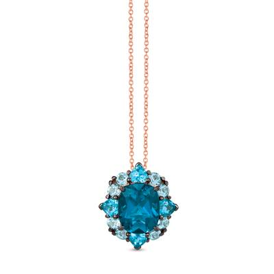 14K Strawberry Gold® Deep Sea Blue Topaz™ 4  3/4 cts., Blue Topaz 2 cts. Pendant | TRIF 56