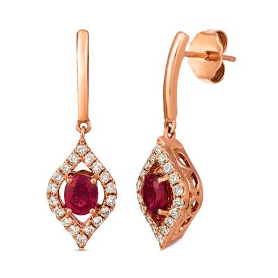 14K Strawberry Gold® Passion Ruby™ 3/4 cts. Earrings with Nude Diamonds 1/3 cts. | TRIG 11