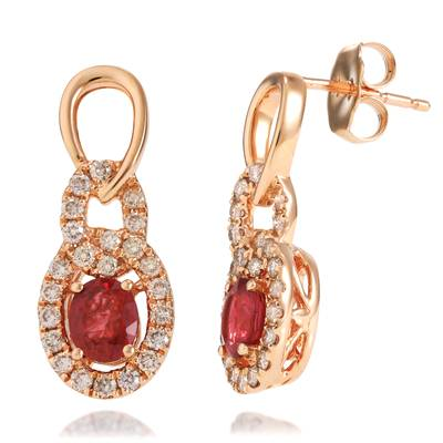14K Strawberry Gold® Passion Ruby™ 7/8 cts. Earrings with Nude Diamonds™ 3/8 cts. | TRIG 5