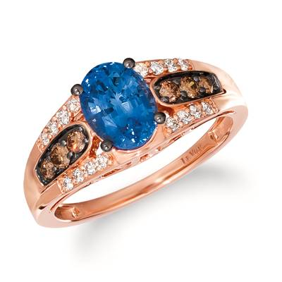 14K Strawberry Gold® Cornflower Ceylon Sapphire™ 1  1/6 cts. Ring with Chocolate Diamonds® 1/4 cts., Nude Diamonds™ 1/6 cts. | TRIG 64