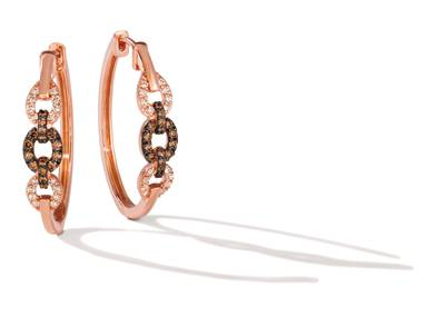 14K Strawberry Gold® Earrings with Chocolate Diamonds® 1/4 cts., Nude Diamonds™ 1/4 cts. | TRIG 68