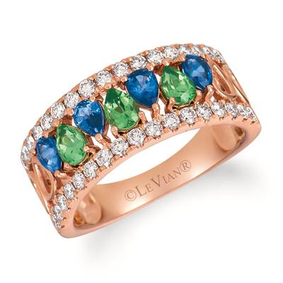 14K Strawberry Gold® Blueberry Sapphire™ 5/8 cts., Forest Green Tsavorite™ 3/8 cts. Ring with Vanilla Diamonds® 1/2 cts. | TRIG 84