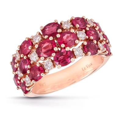 14K Strawberry Gold® Passion Ruby™ 3  3/8 cts. Ring with Vanilla Diamonds® 1/3 cts. | TRIK 14