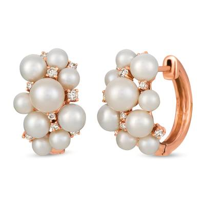 14K Strawberry Gold® Vanilla Pearls™  cts. Earrings with Nude Diamonds™ 1/4 cts. | TRIL 20