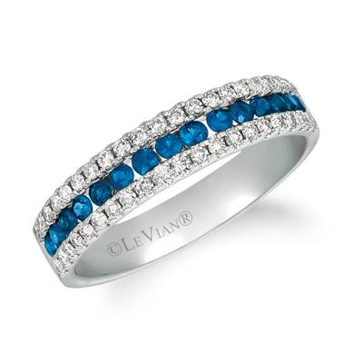 14K Vanilla Gold® Blueberry Sapphire™ 3/8 cts. Ring with Nude Diamonds™ 1/3 cts. | TRIN 16