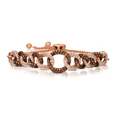 14K Strawberry Gold® Bolo Bracelet with Chocolate Diamonds® 1  5/8 cts., Nude Diamonds 1  7/8 cts. | TRIN 45