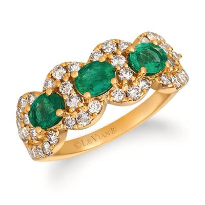 14K Honey Gold™ Costa Smeralda Emeralds™ 7/8 cts. Ring with Nude Diamonds 7/8 cts. | TRIT 10