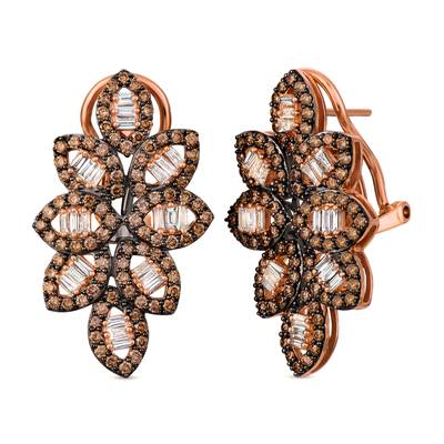 14K Strawberry Gold® Earrings with Nude Diamonds™ 1/2 cts., Chocolate Diamonds® 1  5/8 cts. | TRIT 48
