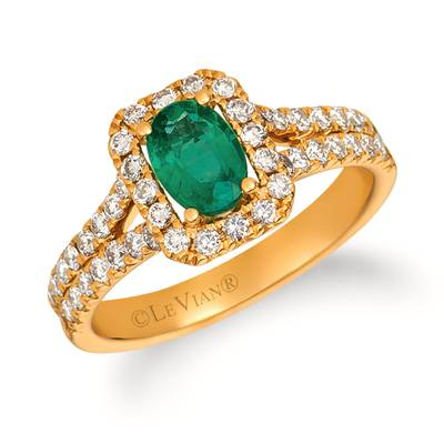 14K Honey Gold™ Costa Smeralda Emeralds™ 5/8 cts. Ring with Nude Diamonds™ 3/4 cts. | TRIT 8
