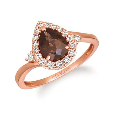 14K Strawberry Gold® Chocolate Quartz® 1 cts. Ring with Nude Diamonds™ 1/4 cts. | TRJQ 2