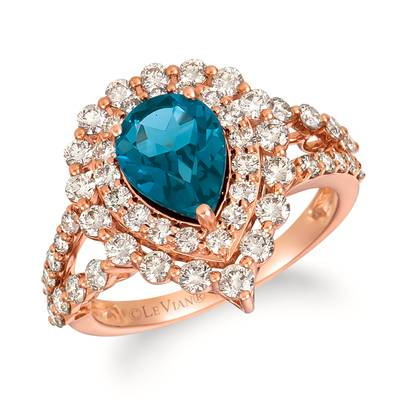 14K Strawberry Gold® Deep Sea Blue Topaz™ 1  3/4 cts. Ring with Nude Diamonds™ 1  1/3 cts. | TRJQ 54