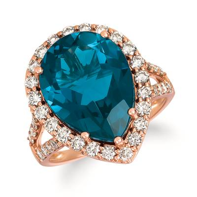 14K Strawberry Gold® Deep Sea Blue Topaz™ 8  1/4 cts. Ring with Nude Diamonds™ 1 cts. | TRJQ 57