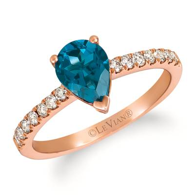 14K Strawberry Gold® Deep Sea Blue Topaz™ 1  1/4 cts. Ring with Nude Diamonds™ 1/4 cts. | TRJQ 59